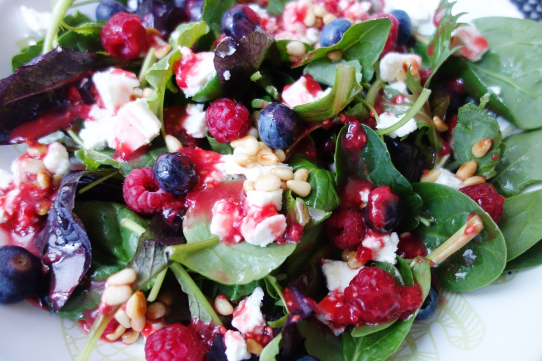 Wild Herb Salad with Berries and Feta