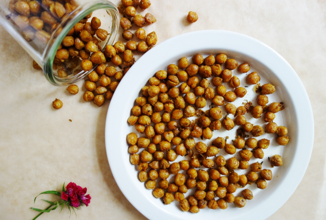 Spicy Roasted Chickpeas on white plate
