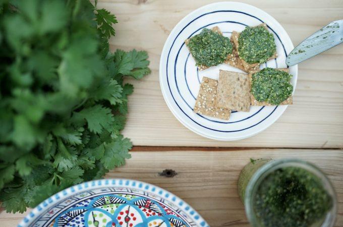 Coriander Pesto on quinoa crackers