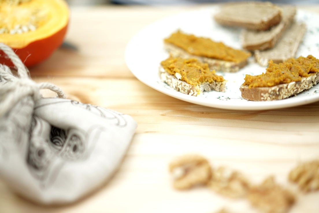 Vegan Pumpkin Spread with Turmeric on a plate