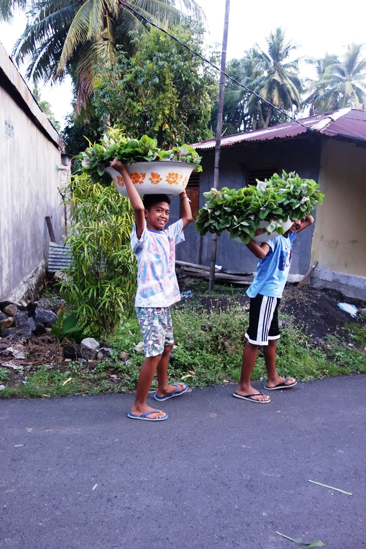 Village boys carrying home greens